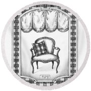French Country Fauteuil Round Beach Towel