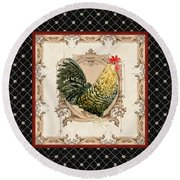 French Country Roosters Quartet Black 3 Round Beach Towel