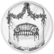 French Country Sofa Round Beach Towel