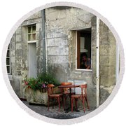 French Countryside Corner Round Beach Towel