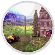 French Countyside  Scene Round Beach Towel