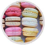 French Delicious Dessert Macaroons Round Beach Towel