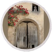 French Doors And Ghost In The Window Round Beach Towel by Marilyn Dunlap