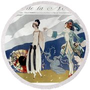 French Fashion Ad, 1923 Round Beach Towel
