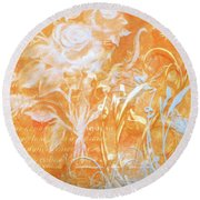 French Floral 2 Round Beach Towel