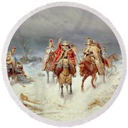 French Forces Crossing The River Berezina In November 1812 Round Beach Towel