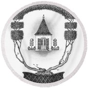 French Garden House Round Beach Towel