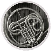 French Horn 2 Round Beach Towel