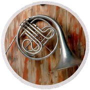 French Horn Hanging On Wall Round Beach Towel