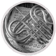 French Horn In Black And White Round Beach Towel