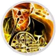 French Horn Round Beach Towel by Stephen Younts