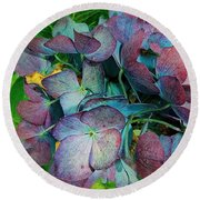 French Hydrangea Rainbow Round Beach Towel