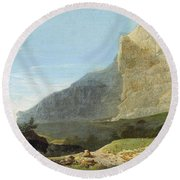 French Master 1st Half Of Th 19th Century   Rocky Cliff Off Shore Round Beach Towel