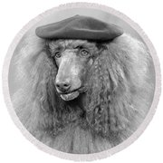 French Poodle Wearing Beret, C.1970s Round Beach Towel
