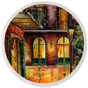 French Quarter Alley Round Beach Towel