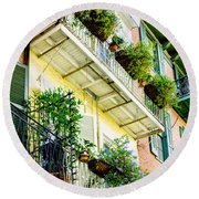 French Quarter Balconies - Nola Round Beach Towel