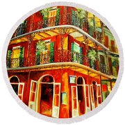 French Quarter Corner Round Beach Towel