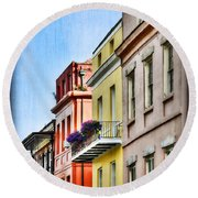 French Quarter In Summer Round Beach Towel