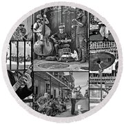 French Quarter Musicians Collage Bw Round Beach Towel