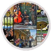 French Quarter Musicians Collage Round Beach Towel