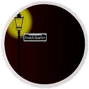French Quarter Sign With Lamp Round Beach Towel