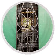French Quarter Window To The Courtyard Round Beach Towel