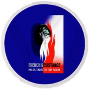 French Resistance Helps Throttle The Boche Round Beach Towel