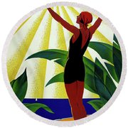 French Riviera, Girl On The Beach, France Round Beach Towel