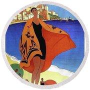 French Riviera, Woman On The Beach, Paris, Lyon, Mediterranean Railway Round Beach Towel