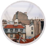 French Rooftops  Round Beach Towel