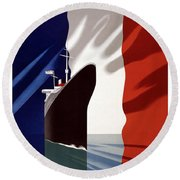 French Shipping Line Poster Round Beach Towel