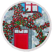 French Stone House And Rose Trellis Round Beach Towel