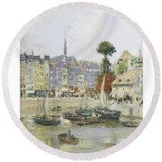 French View Of Honfleur Round Beach Towel