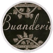 French Vintage Laundry Sign Round Beach Towel
