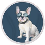 Frenchie French Bulldog Aviators Dogs In Clothes Round Beach Towel