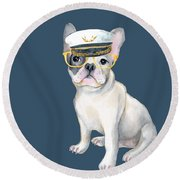 Frenchie French Bulldog Yellow Glasses Captains Hat Dogs In Clothes Round Beach Towel