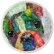Frenchie Round Beach Towel