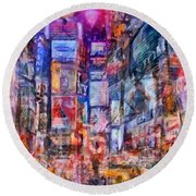Frenzy New York City Round Beach Towel