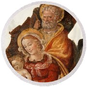 Fresco Holy Family Round Beach Towel