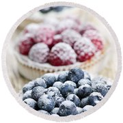 Fresh Berry Tarts Round Beach Towel