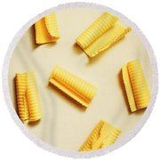 Fresh Butter Curls On Table Round Beach Towel