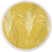 Fresh Corn- Art By Linda Woods Round Beach Towel