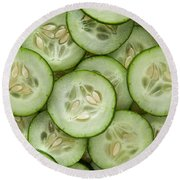 Fresh Cucumbers Round Beach Towel