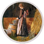 Fresh Eggs Round Beach Towel by Winslow Homer