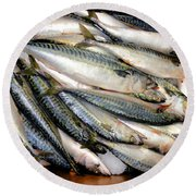 Fresh Fishes In A Market 2 Round Beach Towel