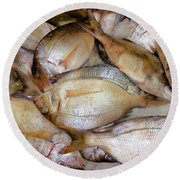 Fresh Fishes In A Market 4 Round Beach Towel