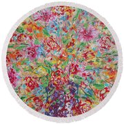 Fresh Flowers. Round Beach Towel