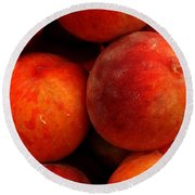 Fresh Fuzzy Peaches Round Beach Towel