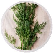 Fresh Green Dill On Wooden Plank Round Beach Towel