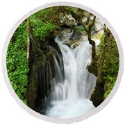 Fresh Green Forest In Spring At Lepenica River Gorge At Sunikov  Round Beach Towel